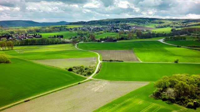 Aerial shot of green fields and pastures in rural landscape