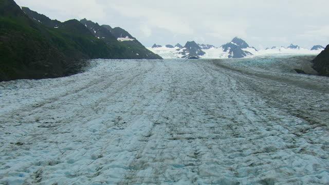 aerial shot of grewingk glacier alaska - kenai peninsula stock videos & royalty-free footage