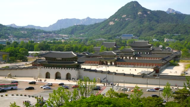 aerial shot of gyeongbokgung palace and the blue house , seoul, south korea - south korea stock videos & royalty-free footage