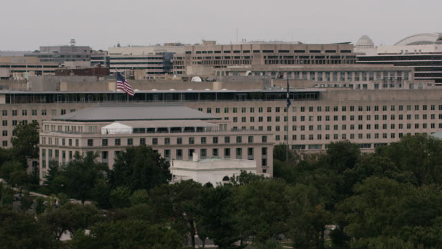 aerial shot of harry s. truman building in dc - harry truman stock videos and b-roll footage