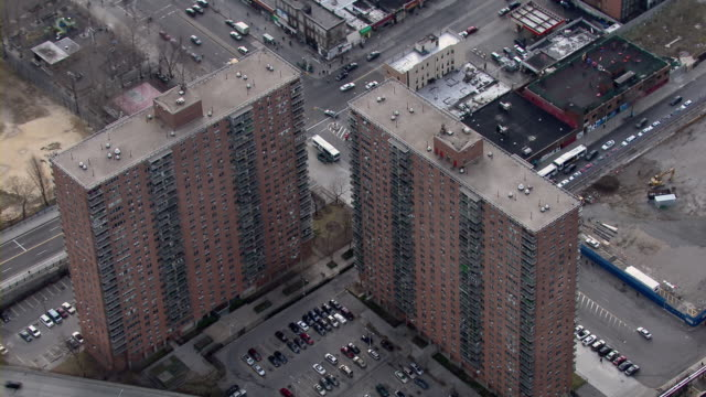 aerial shot of highrise apartment buildings in harlem, new york city, usa. - harlem stock videos & royalty-free footage