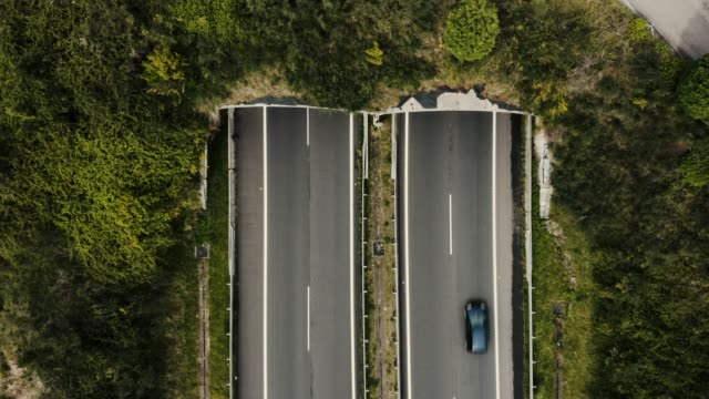 stockvideo's en b-roll-footage met luchtfoto van de snelweg tunnel in de bergen - tunnel
