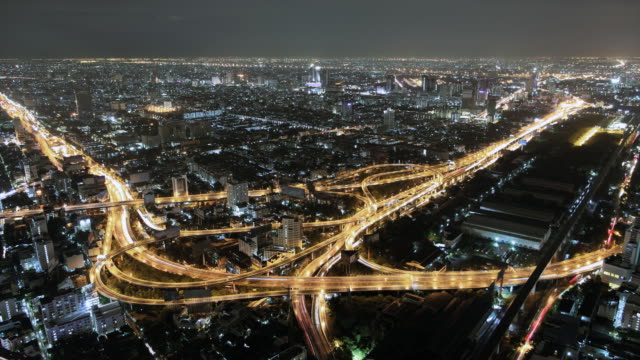 T/L WS Aerial shot of Highway with traffic at night/Bangkok Thailand