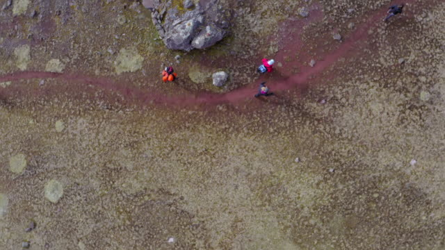 vídeos y material grabado en eventos de stock de aerial shot of hikers walking on trail, drone ascending over people hiking on rocky landscape - rainbow mountain, peru - footpath