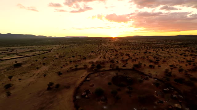 HELI Aerial Shot Of Himba Village