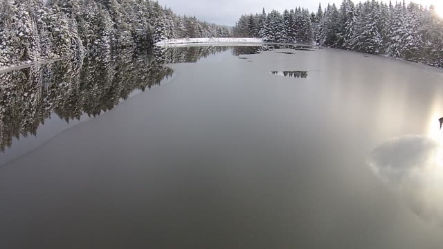 aerial shot of icy lake - vermont stock videos & royalty-free footage