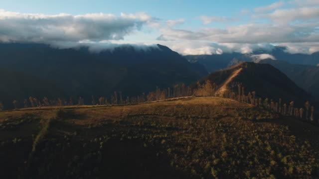 aerial shot of inca trail, cusco, cusco, peru - machu picchu stock videos & royalty-free footage