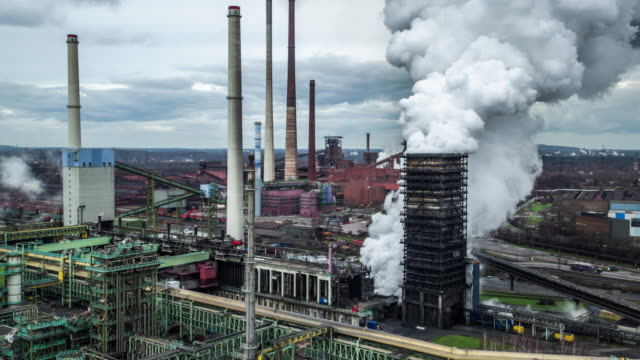 aerial shot of industry - coking plant - miniera video stock e b–roll