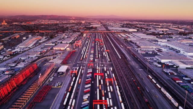 aerial shot of intermodal rail yard - train vehicle stock videos & royalty-free footage