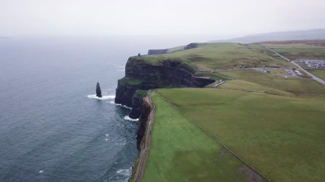 Aerial shot of Ireland's Cliffs of Moher on a rainy afternoon.