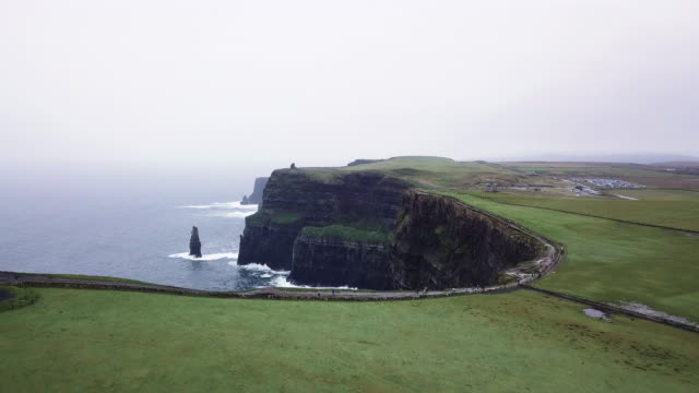 Aerial shot of Ireland's Cliffs of Moher on a wet afternoon.