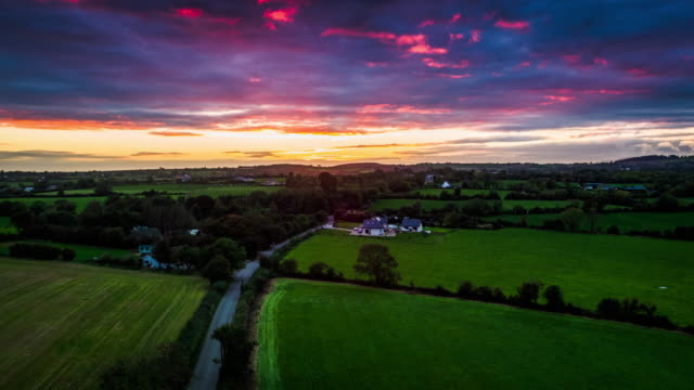 Aerial shot of Irish landscape at sunset, Ireland - Europe
