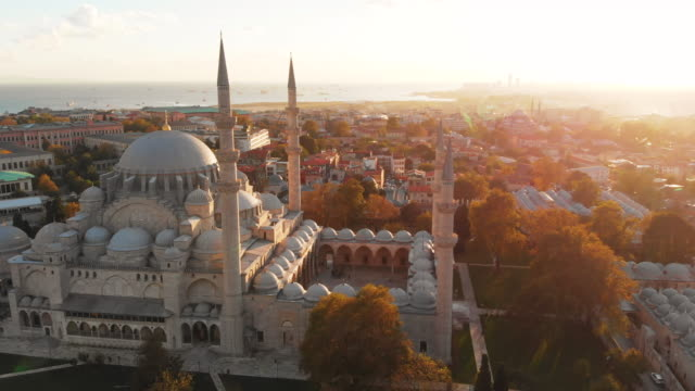 aerial shot of istanbul city, turkey - mosque stock videos & royalty-free footage