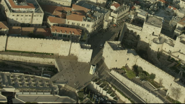 aerial shot of  jaffa gate and the old city - jaffa stock-videos und b-roll-filmmaterial