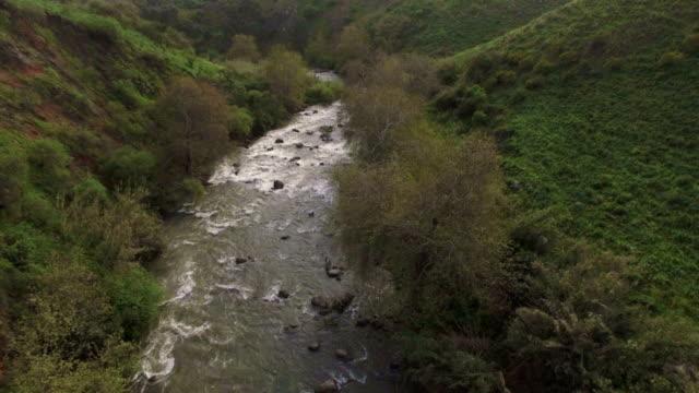 Aerial shot of Jordan River in Upper Galilee, Israel