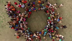 Aerial shot of Kenyan adults and children