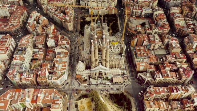 aerial shot of la sagrada familia, barcelona. - barcelona spain stock videos & royalty-free footage