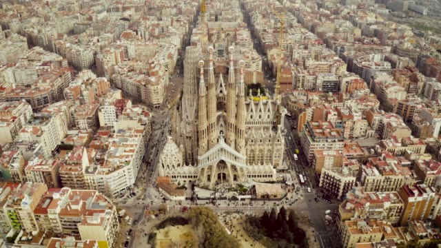 aerial shot of la sagrada familia, barcelona. - barcelona spain stock videos & royalty-free footage