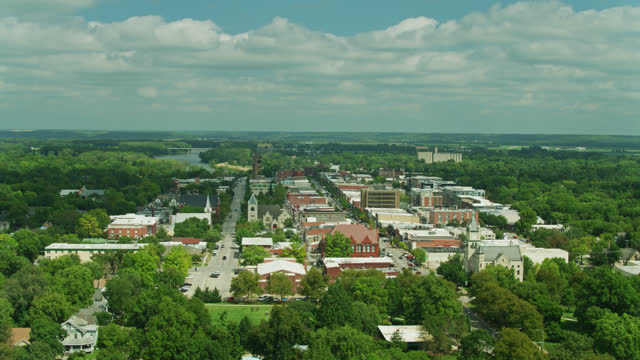 aerial shot of lawrence and flat kansas landscape beyond - kansas stock videos & royalty-free footage