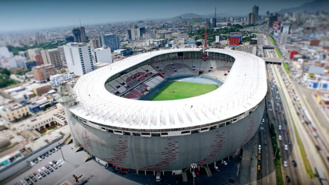 4K Aerial shot of Lima Peru national stadium