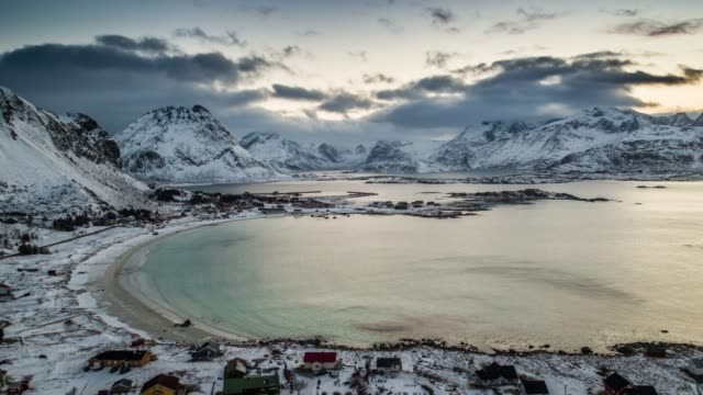 aerial shot of lofoten islands winter landscape with beautiful beach - nordland county stock videos & royalty-free footage