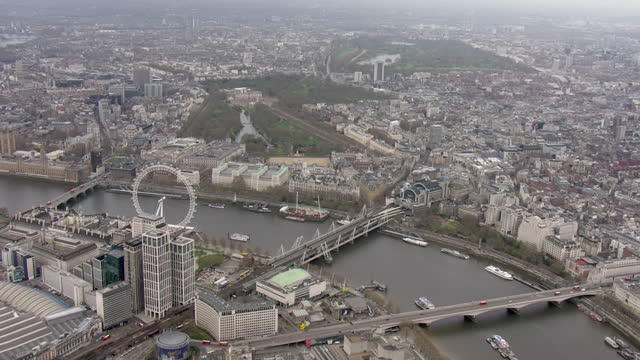 aerial shot of london skyline on a cloudy day travelling west across the thames from the city of london to the mall on 10th april 2021 in london,... - aerial view stock videos & royalty-free footage