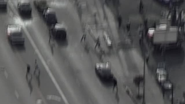Aerial Shot Of Looters During LA Riots on April 29 1992 in Los Angeles California