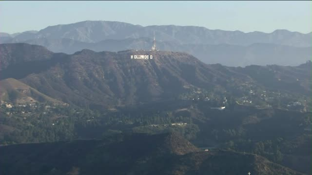 aerial shot of los angeles and hollywood sign - hollywood california stock videos & royalty-free footage