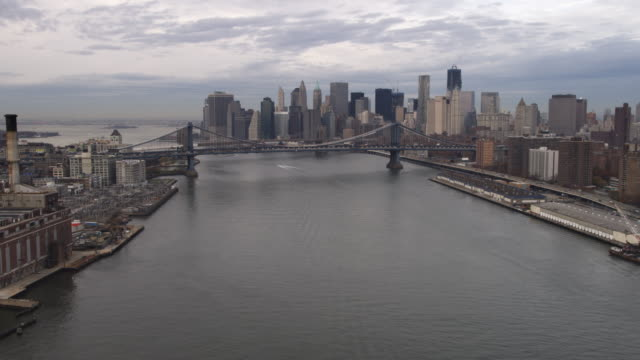 Aerial shot of Manhattan Bridge from the East River looking at lower Manhattan. Shot in 2011.