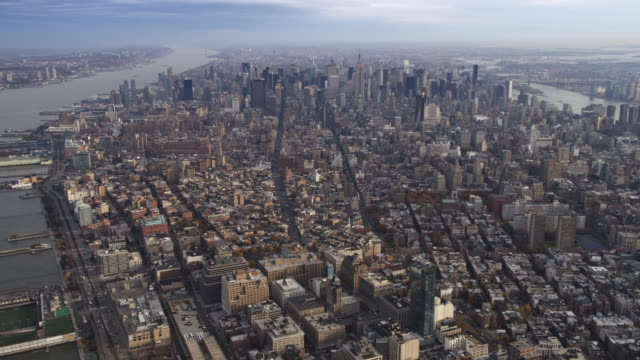 Aerial shot of Manhattan looking north to Midtown, NY. Shot in 2011.