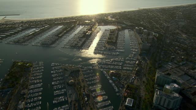 Aerial shot of Marina del Rey and the Santa Monica Bay in Southern California.