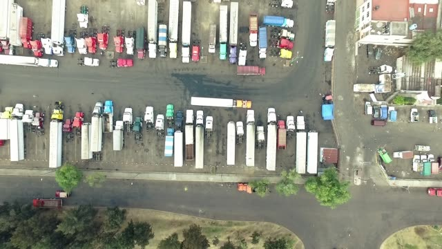 aerial shot of mexico city - trucks in a row stock videos & royalty-free footage
