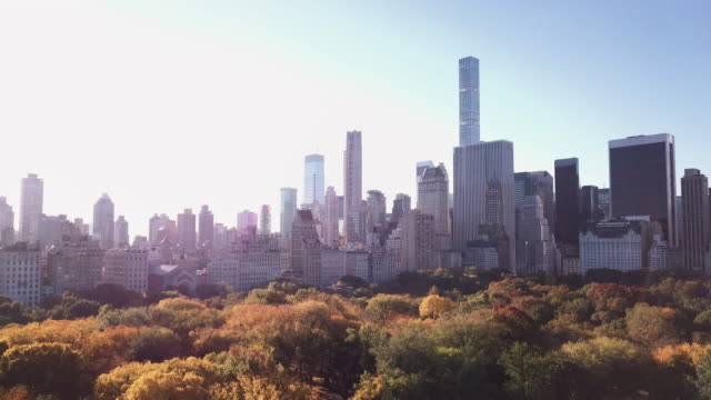 Aerial shot of Midtown Manhattan and Central Park during an Autumn morning.