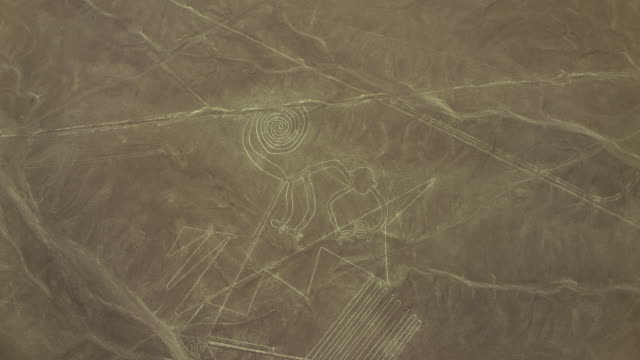 Aerial Shot Of Monkey At Nazca Lines