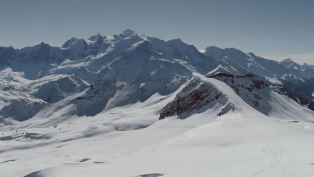 aerial shot of  mont blanc - snowcapped mountain stock videos and b-roll footage