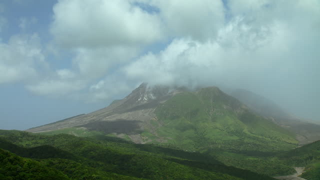 Aerial Shot Of Montserrat Volcano