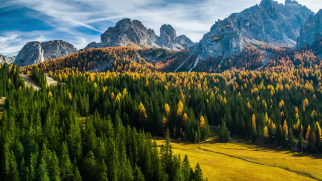 Aerial shot of mountain landscape at autumn time, Sexten Dolomites in Italy