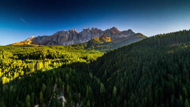 Aerial shot of mountain landscape in South Tyrol