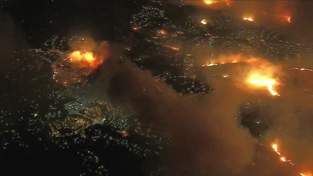 aerial shot of multiple wildfires burning in oak park, california on november 9, 2018. - fire engine stock videos & royalty-free footage