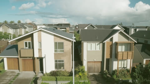 aerial shot of new residential houses - house stock videos & royalty-free footage