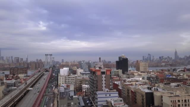 aerial shot of new york city - brooklyn new york stock videos & royalty-free footage