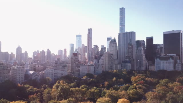 Aerial shot of New York City's Central Park during the Autumn of 2017 in 4k.