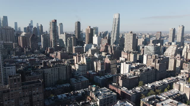 aerial shot of new york city's upper west side - new york city skyline stock videos & royalty-free footage