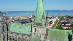 Aerial shot of Nidaros Cathedral in Trondheim