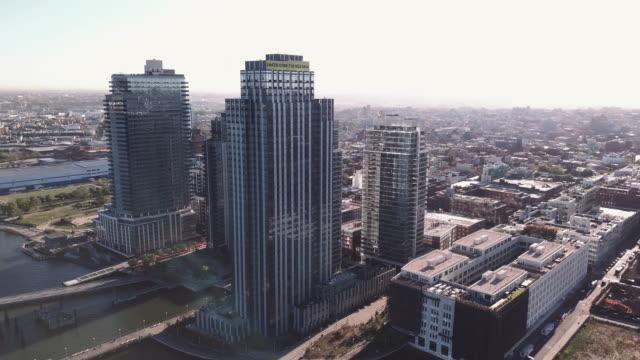 aerial shot of north 4th luxury apartments in Williamsburg Brooklyn
