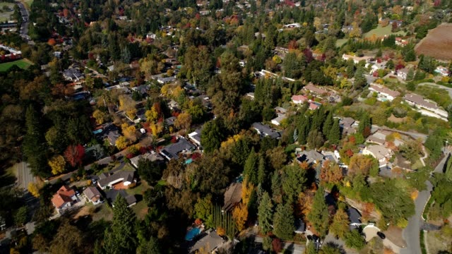 aerial shot of northern california neighborhood - northern california stock videos and b-roll footage