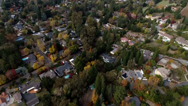 aerial shot of northern california neighborhood - middle class stock videos and b-roll footage