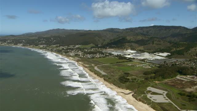 Aerial shot of Northern California's Half Moon Bay.