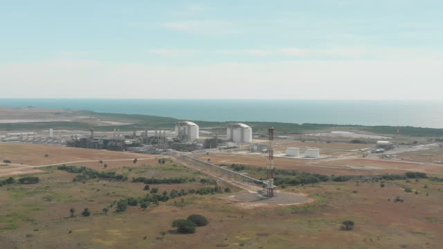 aerial shot of oil refinery near port moresby - papua stock videos and b-roll footage