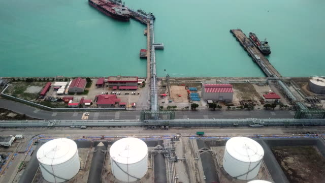 aerial shot of oil refinery - storage tank stock videos and b-roll footage